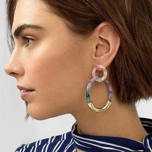NWT Colorful + Gold Double Hoop Acrylic Earrings